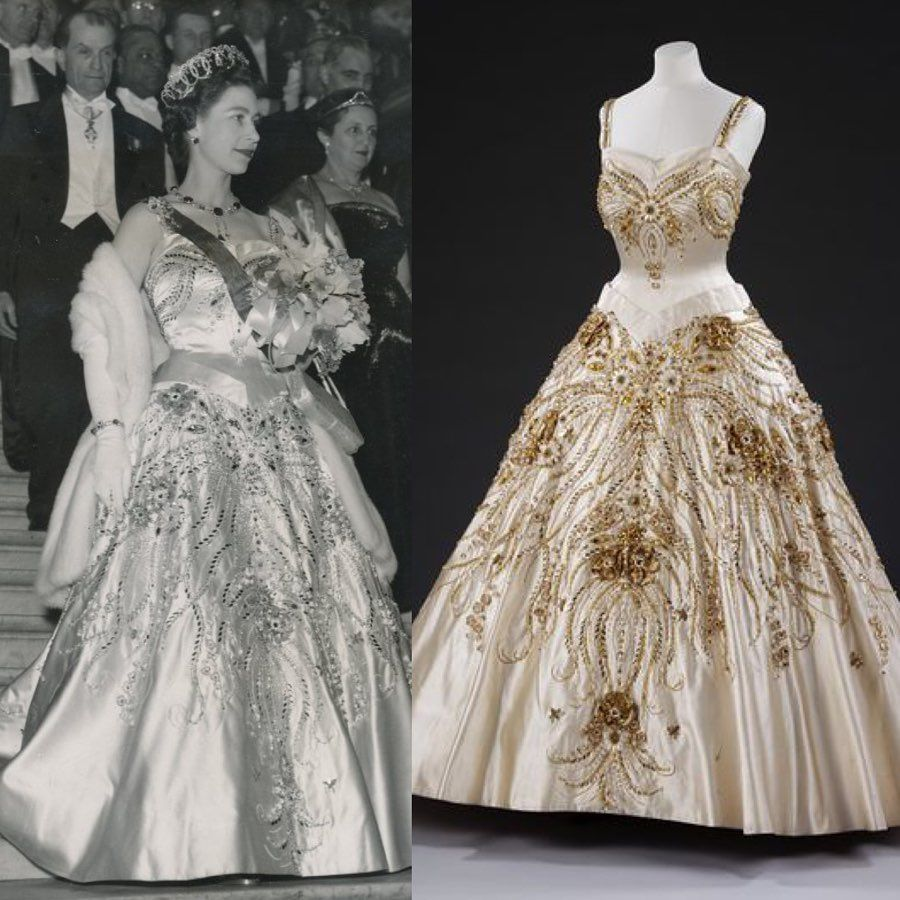 """""""The Flowers of the Fields of France"""" evening dress by"""