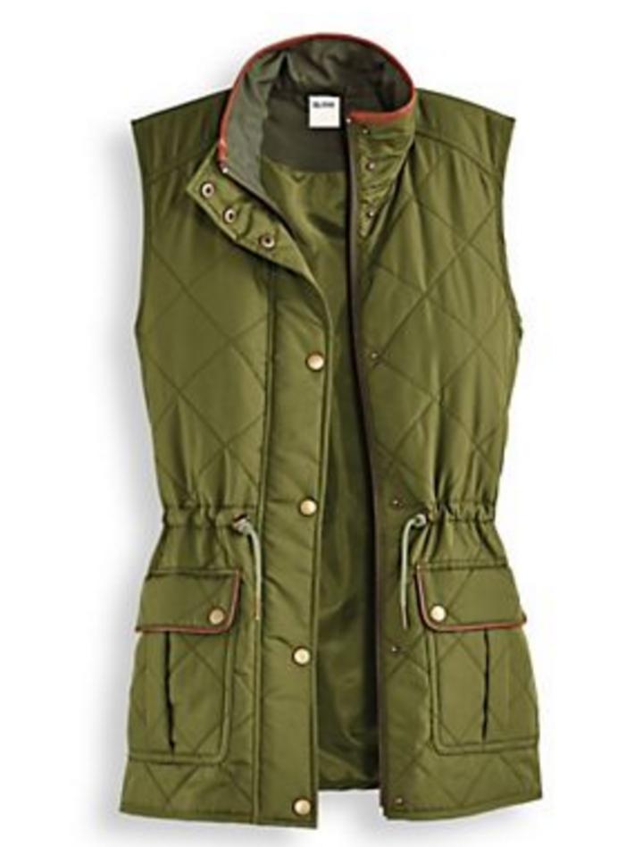 Scandia Woods Olive Green Quilted Vest Misses Medium M  3f42c2f09