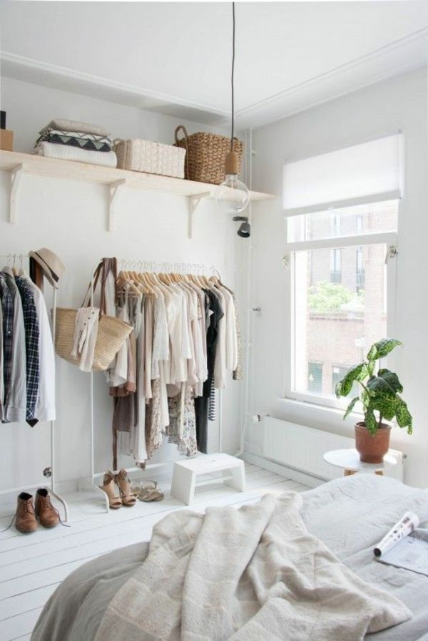 Kleines Schlafzimmer Einrichtungsideen Kleidung Ausstellen Pendelleuchte