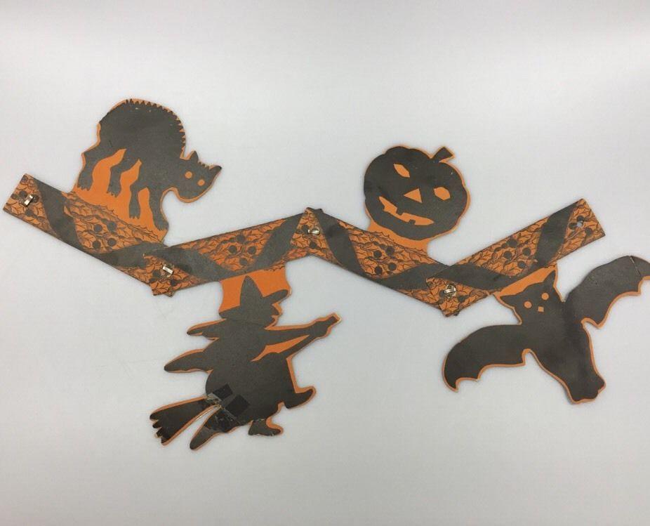 Vintage Halloween Die Cut Paper Garland Decoration Cat Witch Pumpkin Bat