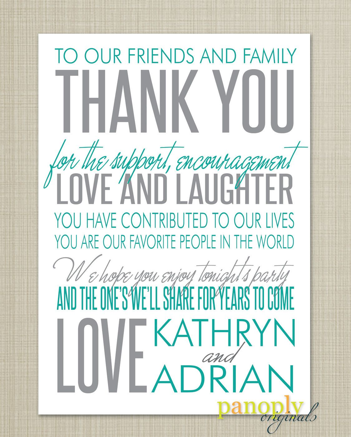 Wedding Reception Thank You Place Card 20 00 Via Etsy In A Diffe Color