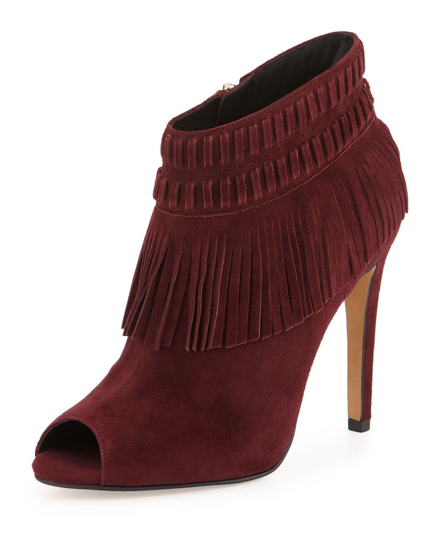 Rio Peep-Toe Fringe Bootie, Wine (Red), Women's, Size: 7 1/2 B - Rebecca Minkoff