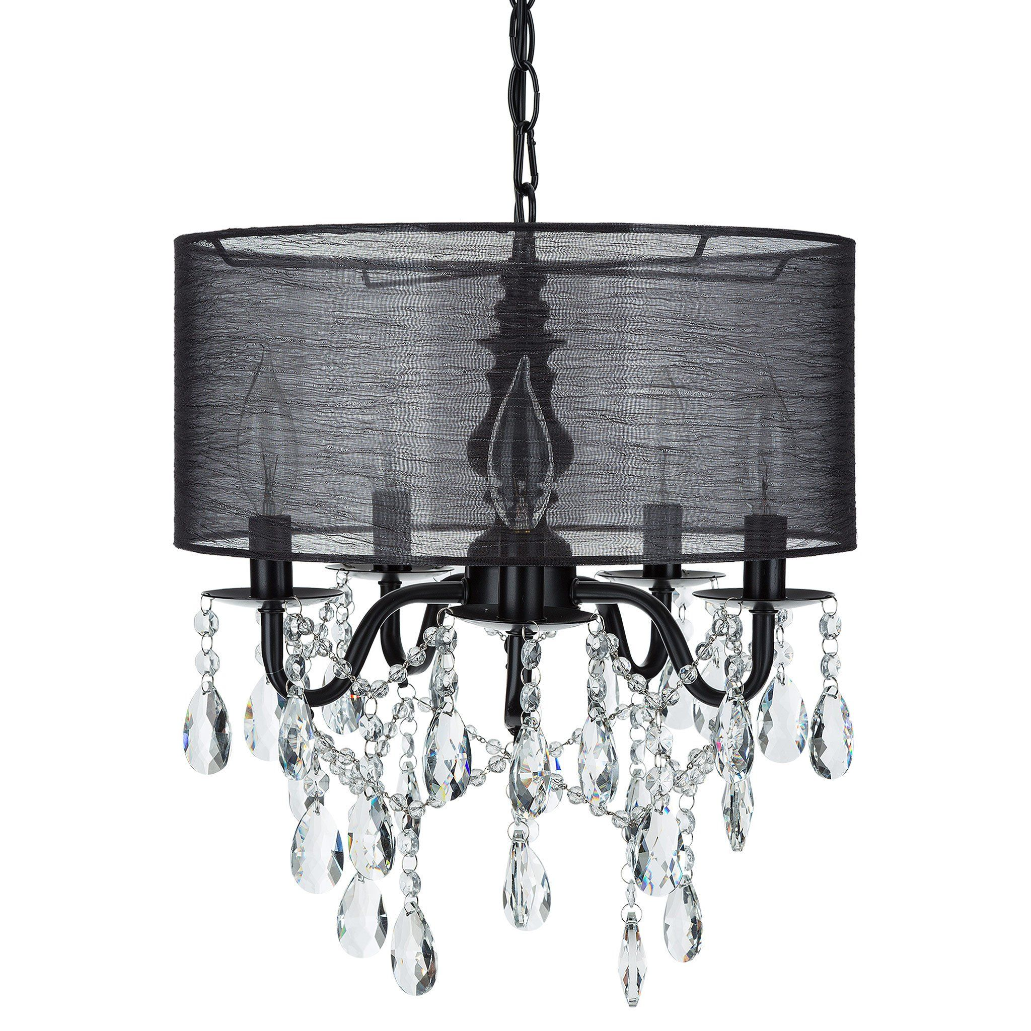 5 light crystal plug in chandelier with cylinder shade black 5 light crystal plug in chandelier with cylinder shade black aloadofball Images