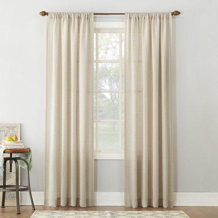 No 918 Amalfi Linen Blend Textured Sheer Rod Pocket Curtain Panel White Panel Curtains Drapes Curtains Sheer Curtain Panels