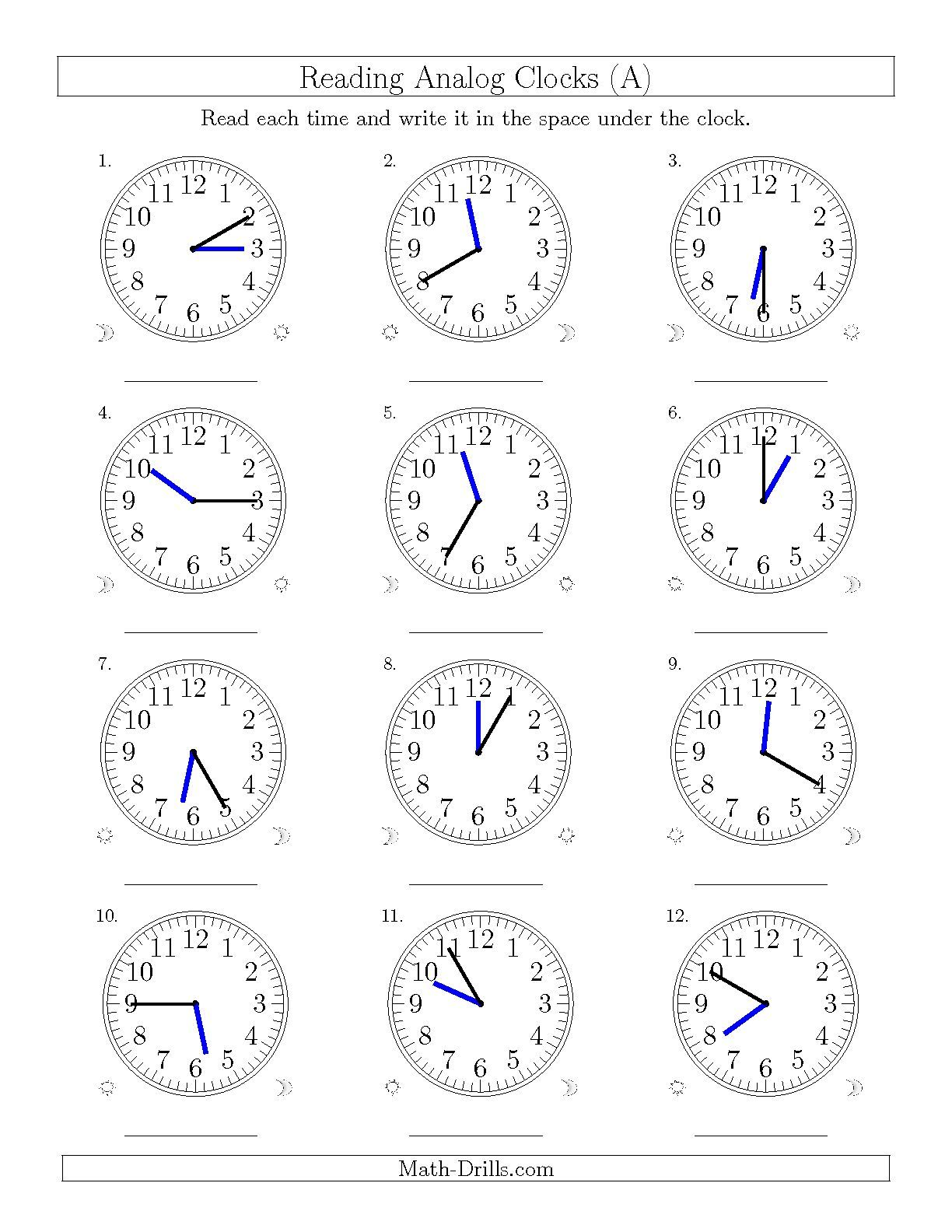 medium resolution of The Reading Time on 12 Hour Analog Clocks in 5 Minute Intervals (A) math  worksheet from the Time Wor…   Time worksheets
