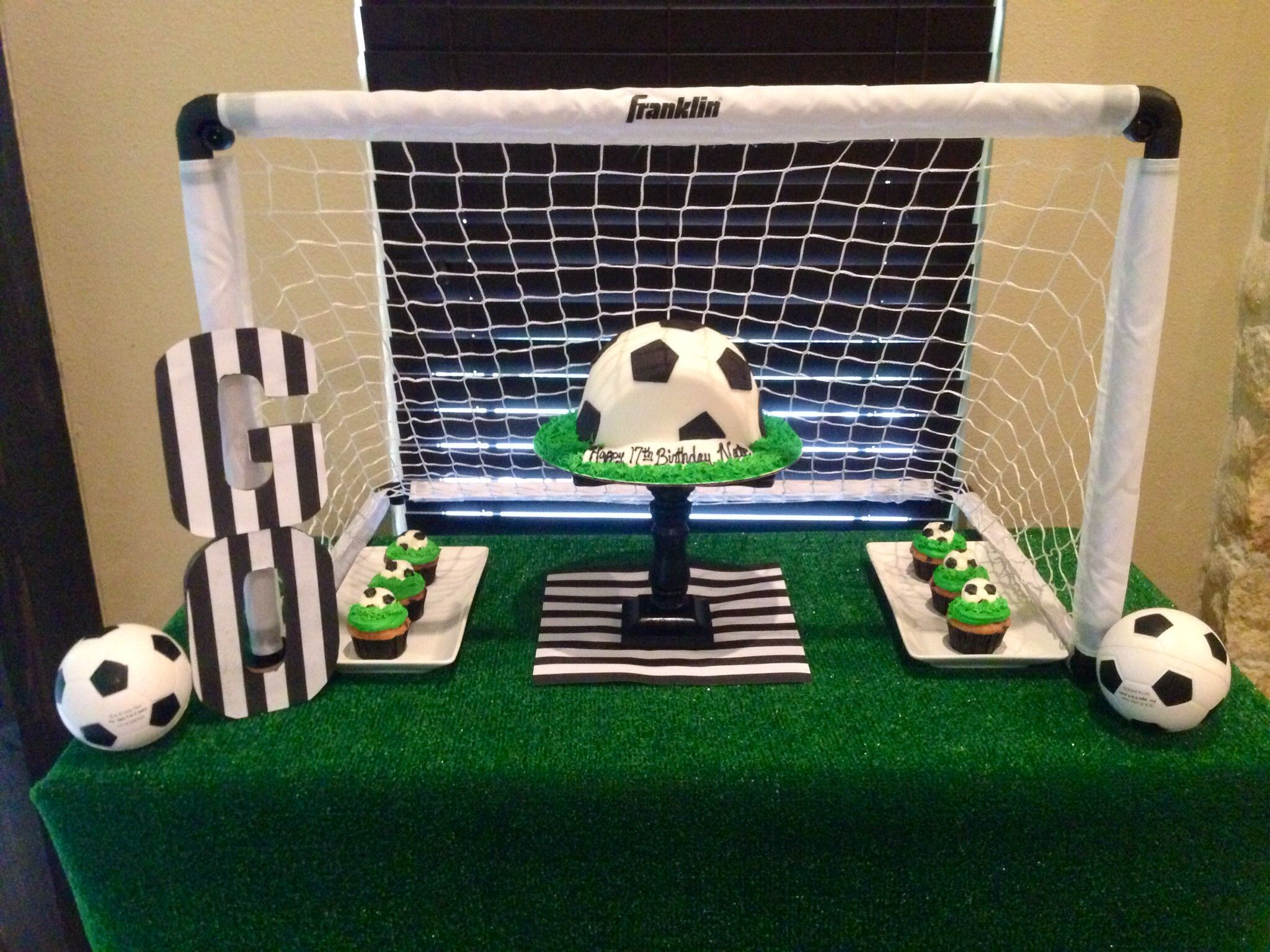 Soccer party cake table soccer birthday