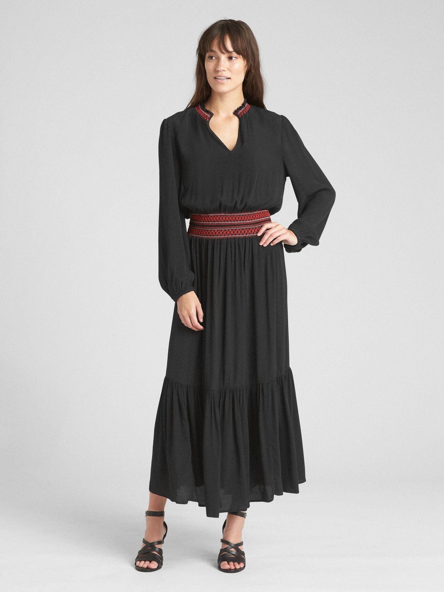 Long sleeve smocked maxi dress clothing pinterest dresses