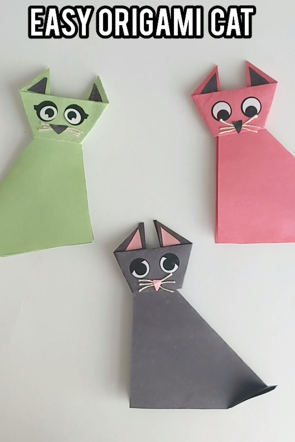 Easy origami step by step tutorial to make this adorable cat craft. #thejoyofsharing #origami #kidscrafts #easyorigami #origamiforkids #papercrafts #catcraft #artsandcrafts #teachersfollowteachers via @4joyofsharing