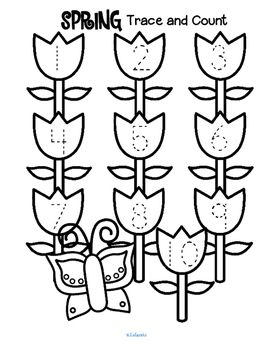 ***FREE*** Spring Trace and Count. Here are three Spring tracing and counting pages for early learners. Count the sets, recognize and trace the numbers, add extra details (bees, worms?) and color if desired.