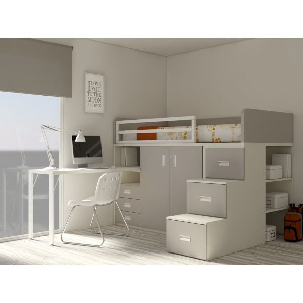 ein hochbett mit unterbett schrank unterbett schubladen unterbett schreibtisch und schubladen. Black Bedroom Furniture Sets. Home Design Ideas