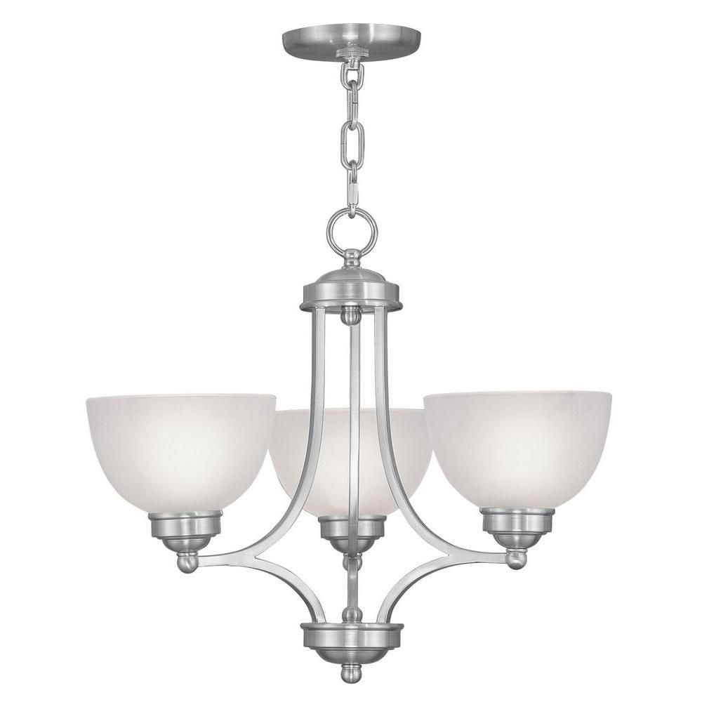 Livex Lighting 3 Light Brushed Nickel Chandelier With Satin Glass Shade