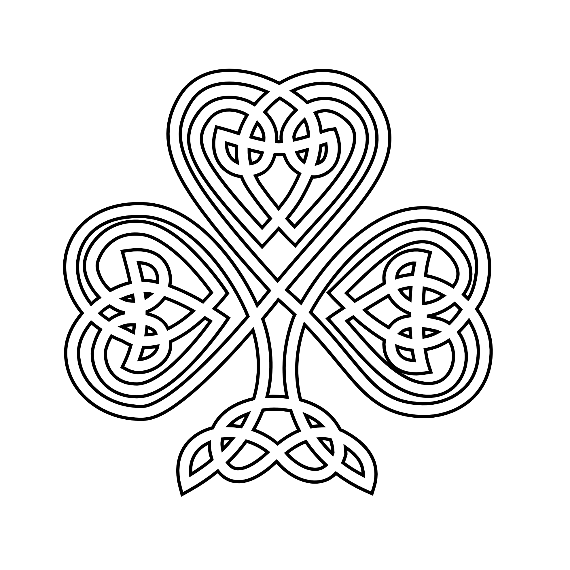 shamrock celtic shamrock black white line flower art coloring