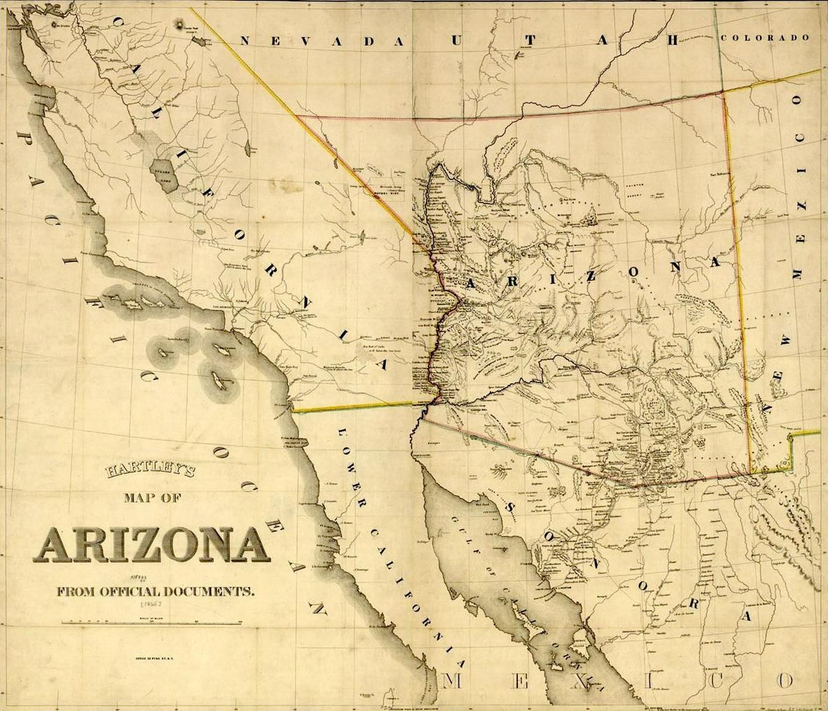 This is an image of Hartleys Map of Arizona Territory from 1865