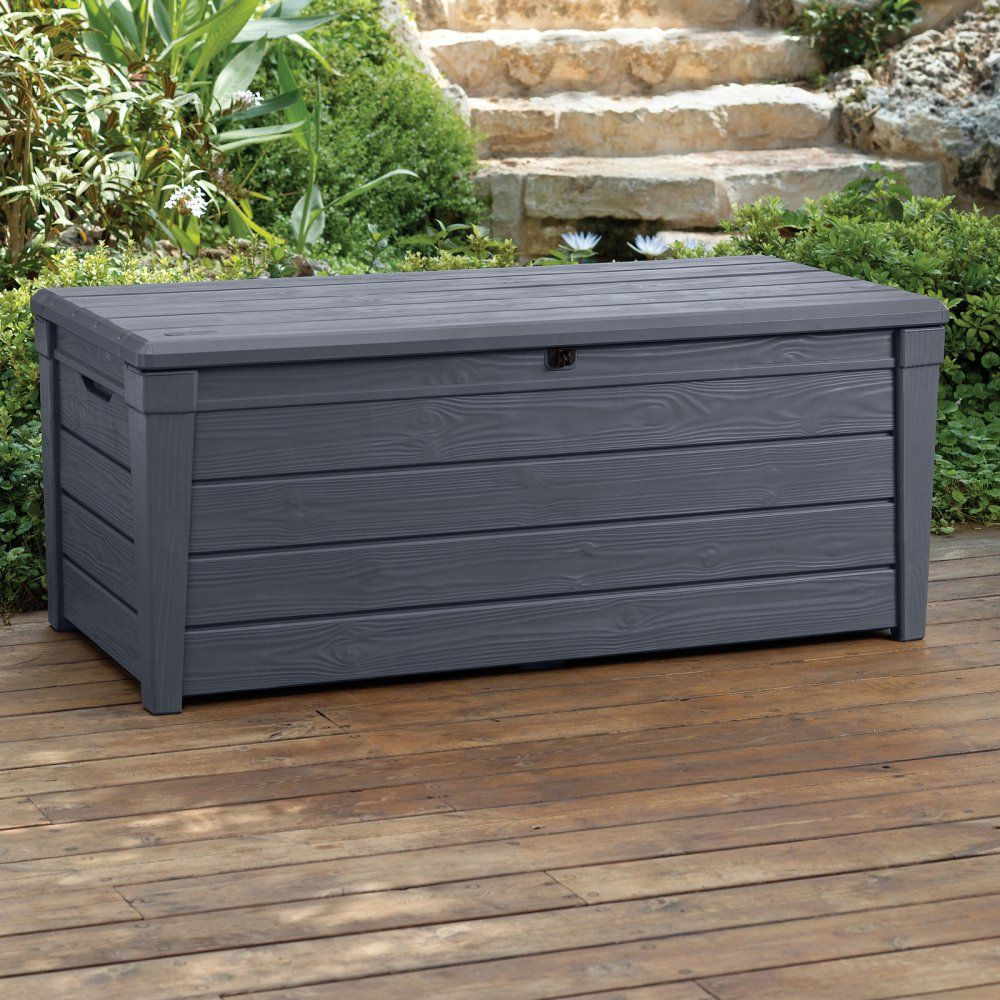 Keter Brightwood Resin 120 Gallon Outdoor Storage Deck Box The Keter Resin Deck Box Outdoor Storage Bench Garden Storage Bench
