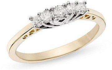 Ice.com 1/4 Carat Diamond 5 Stone 14K White & Yellow Gold Ring on shopstyle.com