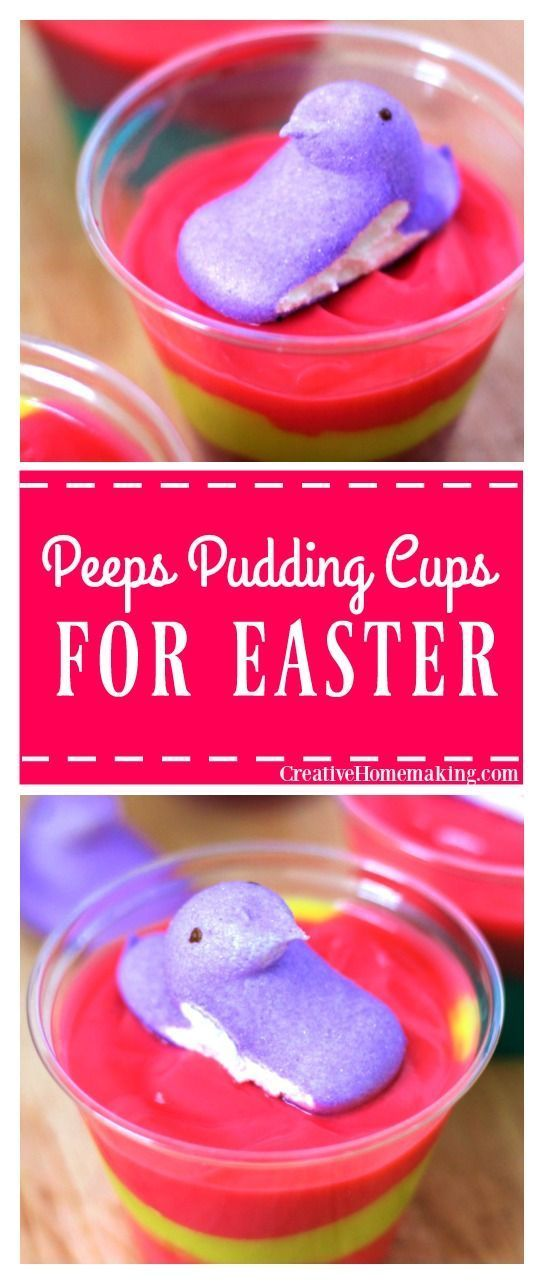 These peeps pudding cups are a fun Easter treat for kids.