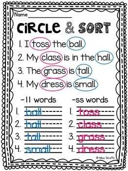 Double Consonants ff ll ss zz Floss Rule Worksheets & Activities {NO ...
