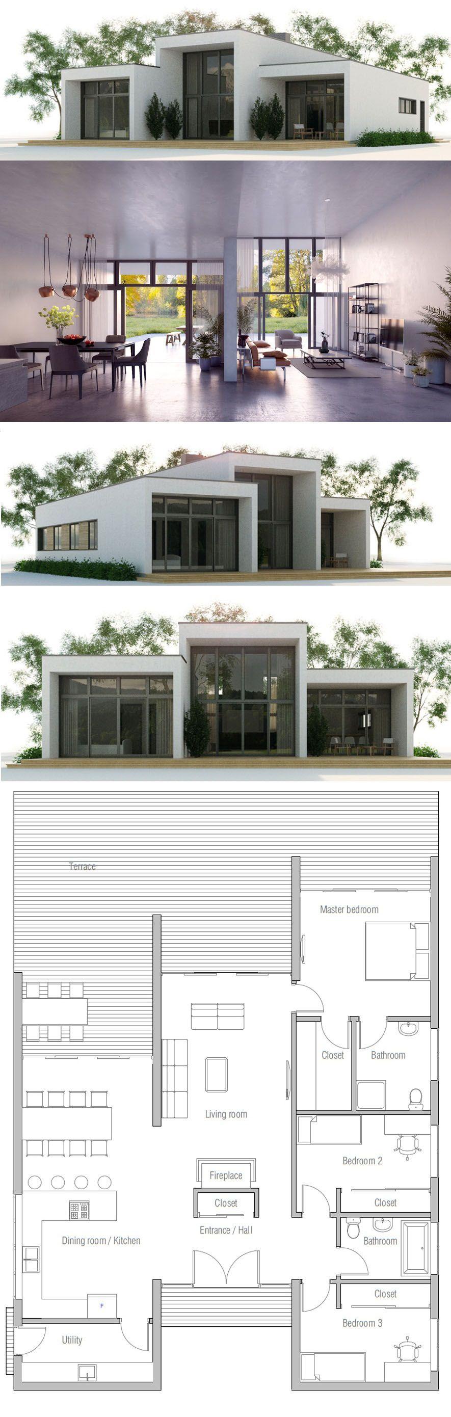 Modern minimalist architecture three bedrooms interior design house also rh pinterest