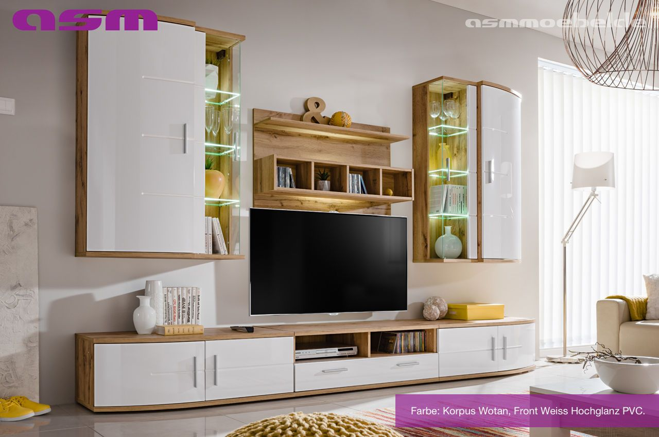 Anbauwand Wohnwand Wohnzimmer Schrankwand Jelly Pvc Hochglanz Led Beleuchtung Wohnen Medienmobel Wohnwand Weiss Hochglanz