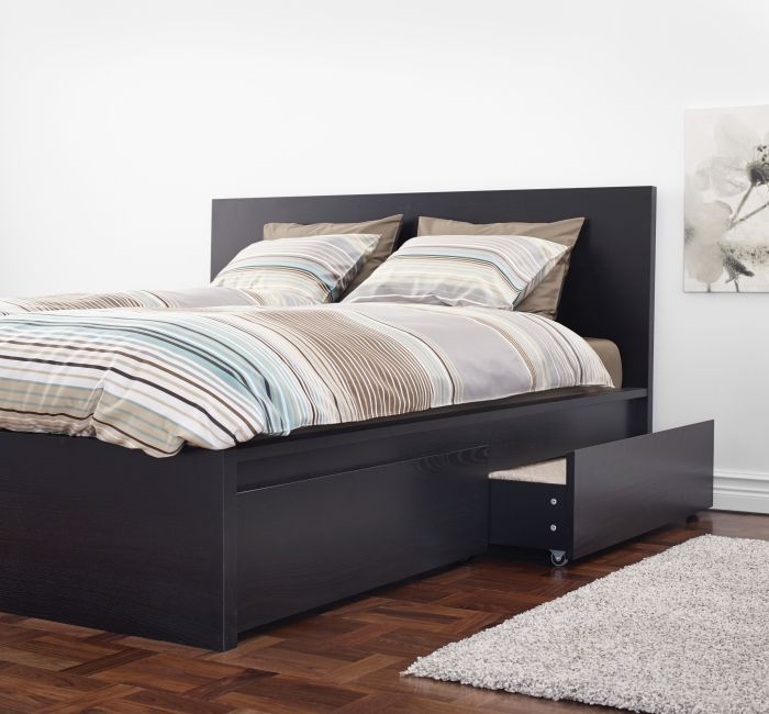 Malm Underbed Storage Box For High Bed Black Brown Queen King