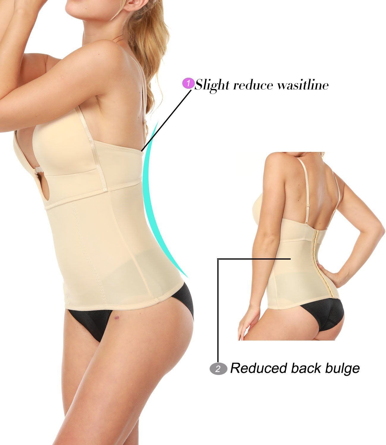 8568cad2ce LANFEI Womens U Plunge Shapewear Bustier Backless Body Shaper Camisole --  Check out the image by visiting the link. (Note Amazon affiliate link)