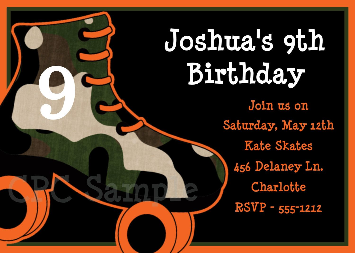 Boys Rollerskating Birthday Invitation Boys Roller Skating ...
