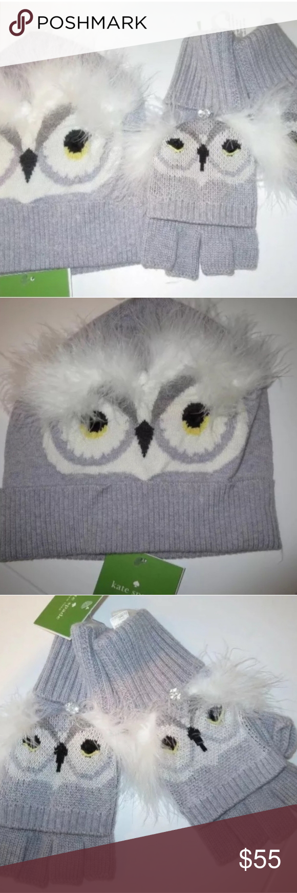 Kate Spade Who Me Owl Mittens Gloves Hat Set Nwt In 2020 Mitten Gloves Mittens Hats