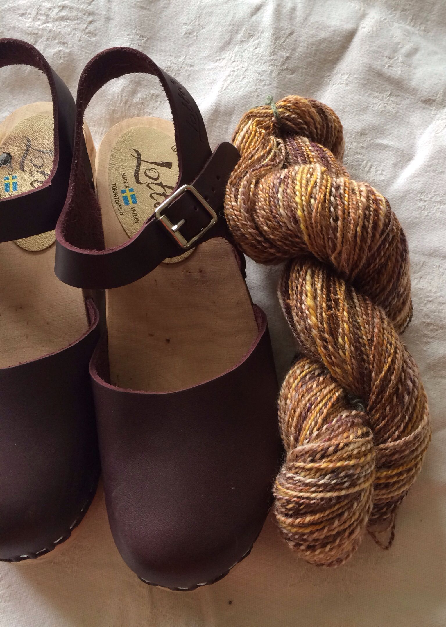 My hand spun.  Hoping to make socks to wear with my clogs.