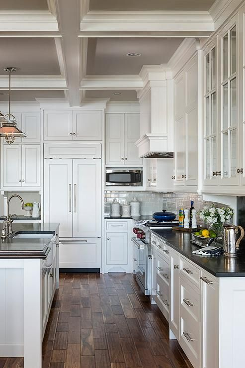 Cottage Kitchen Features A Coffered Ceiling With Coffers Painted Grey Lined The Urban Electric Co