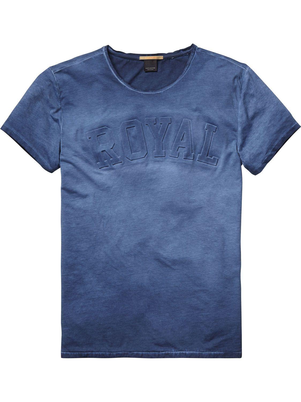 SCOTCH & SODA Garment-dyed Poloshirt teint de vêtement Denim Blue, Herren:M