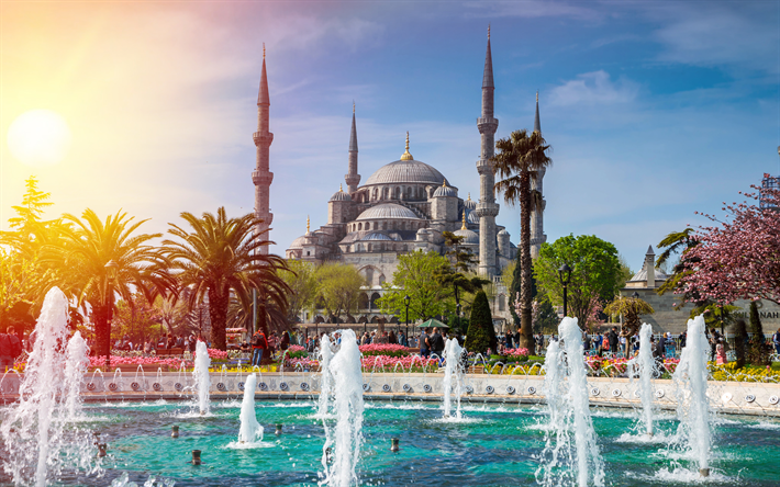 Download Wallpapers Sultan Ahmet Mosque 4k Turkish Landmarks Fountains Blue Mosque Istanbul Turkey Besthqwallpapers Com Istanbul City Wallpaper Background Images