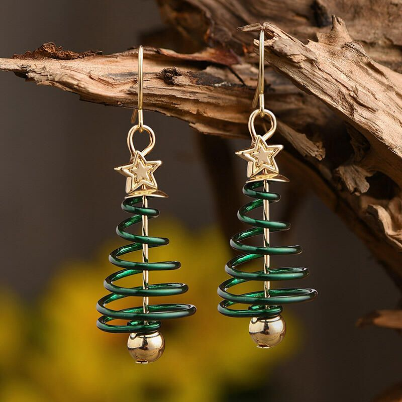 Creative Christmas Tree Star Earrings - Bellelily #sunflowerchristmastree