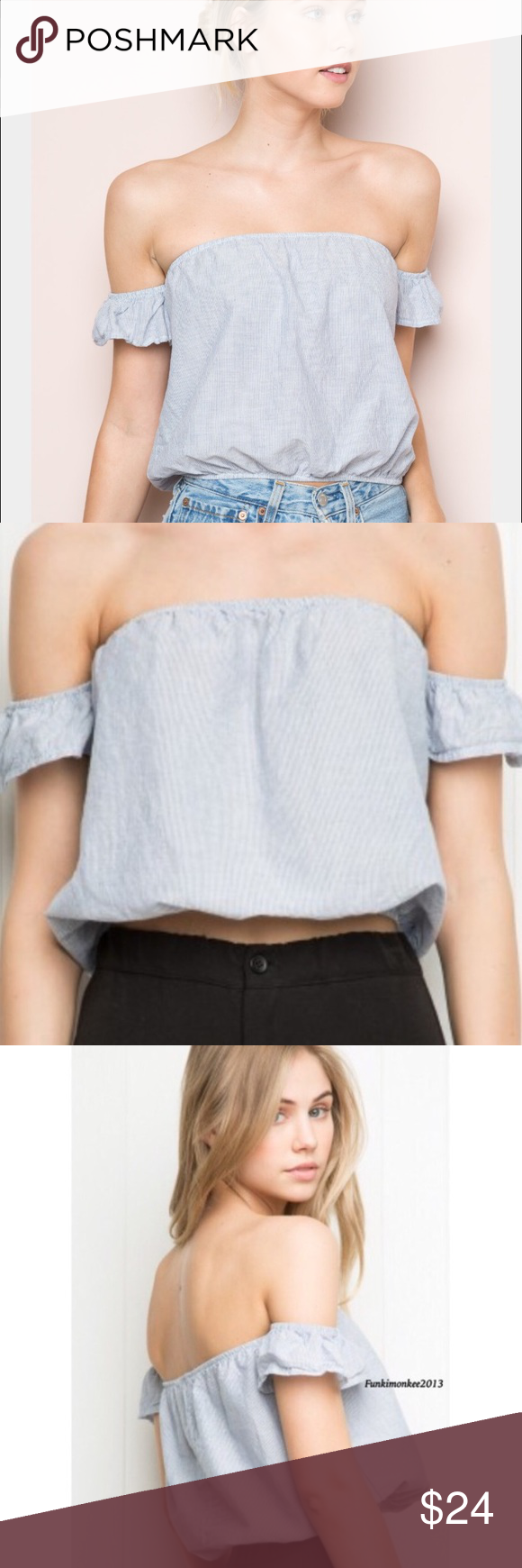 2706313ab78a55 Brandy Melville beccah stripe off the shoulder top Brandy Melville striped  off the shoulder beccah top. It s scrunched in the top and bottom and has  sleeves ...