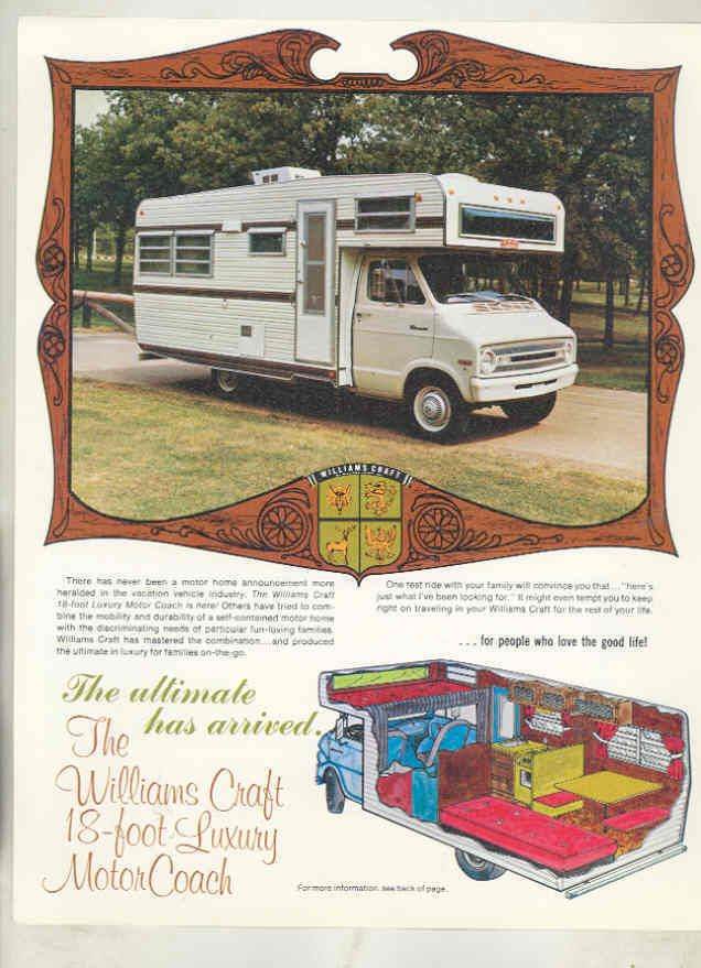 1971 1972 1973 Dodge Williams Craft Van motorhome RV