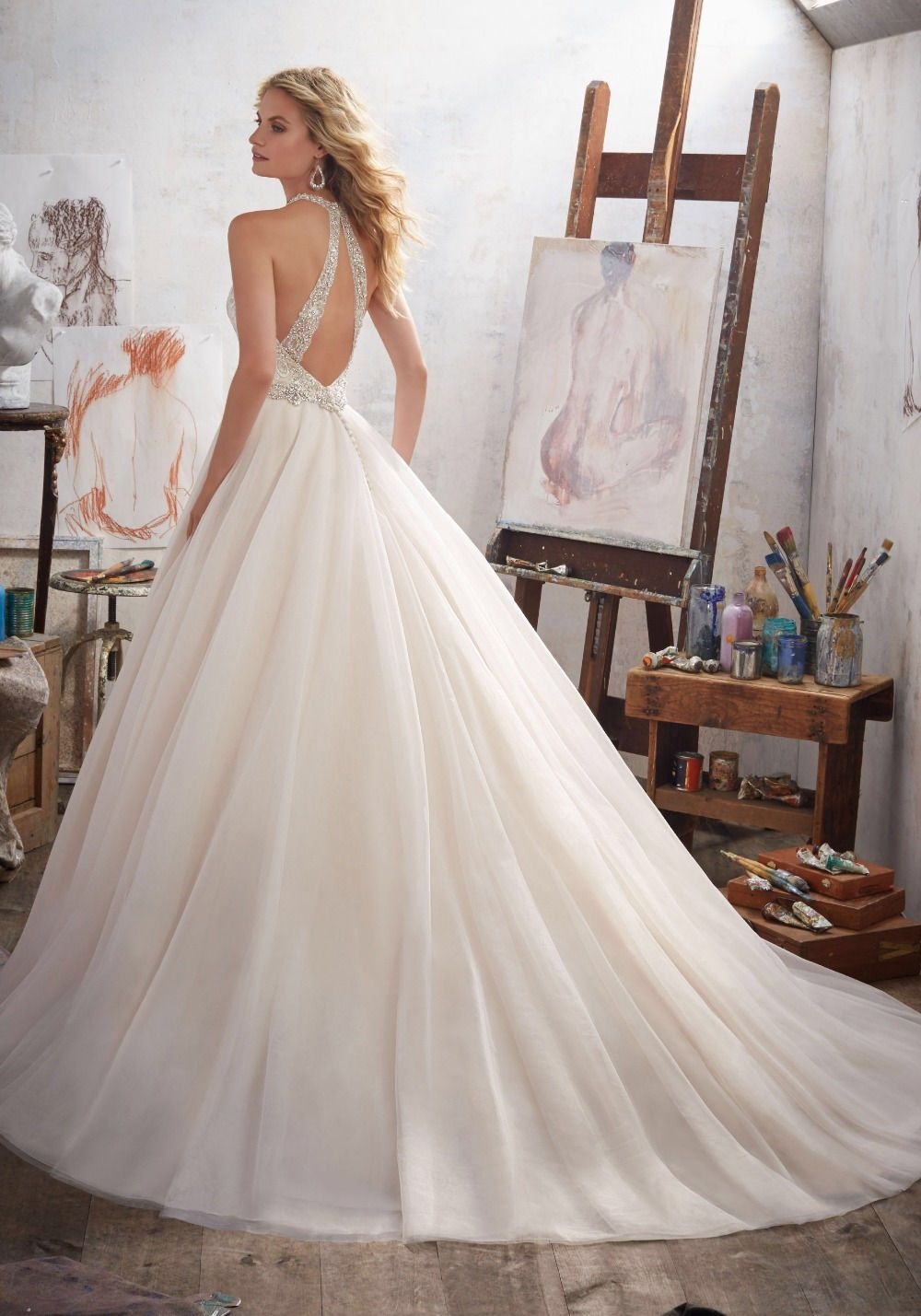 Aline wedding dress with sexy vneck and back design by