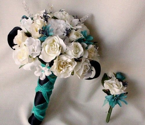 Wedding Boutonnieres Teal Flowers Silk Corsages And Bridal Accessories