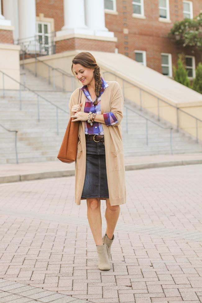 4bad26676 How to wear a denim skirt for fall via Peaches In A Pod blog. Denim pencil  skirt, ankle boots, long cardigan, plaid top.