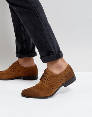 DESIGN brogue shoes in tan faus leather - Tan Asos