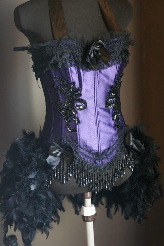 MELISSA Showgirl Burlesque Outfit Corset Costume Purple Black ...