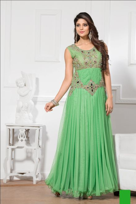 Net Fabric Green Color Readymade Gown