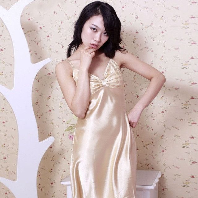 Ladies Sexy Night Dress V-neck Nightgown Plus Size Nightdress Strap Faux  Silk Nightwear For Women e8d5ee1bd