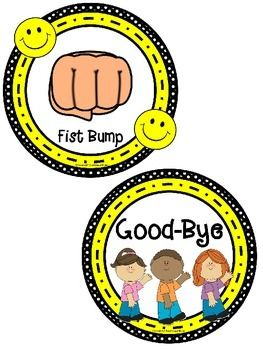 30+ Morning Greeting or Saying Good-Bye Signs in Polka Dot and Smiley Face Theme