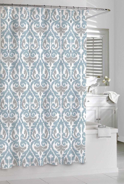 Amazon.com - Shower Curtain Kassatex Scrolled Ikat Blue Grey White ...