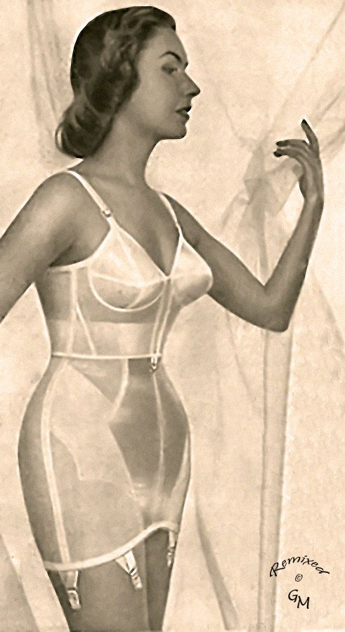 a0afc047e6b21 Meredith A well overlapped longline bra and girdle. Note the hook on the  bottom front of the bra to hook it to the girdle