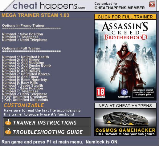 Assassin s creed 2 pc game cheats complete genesis game list