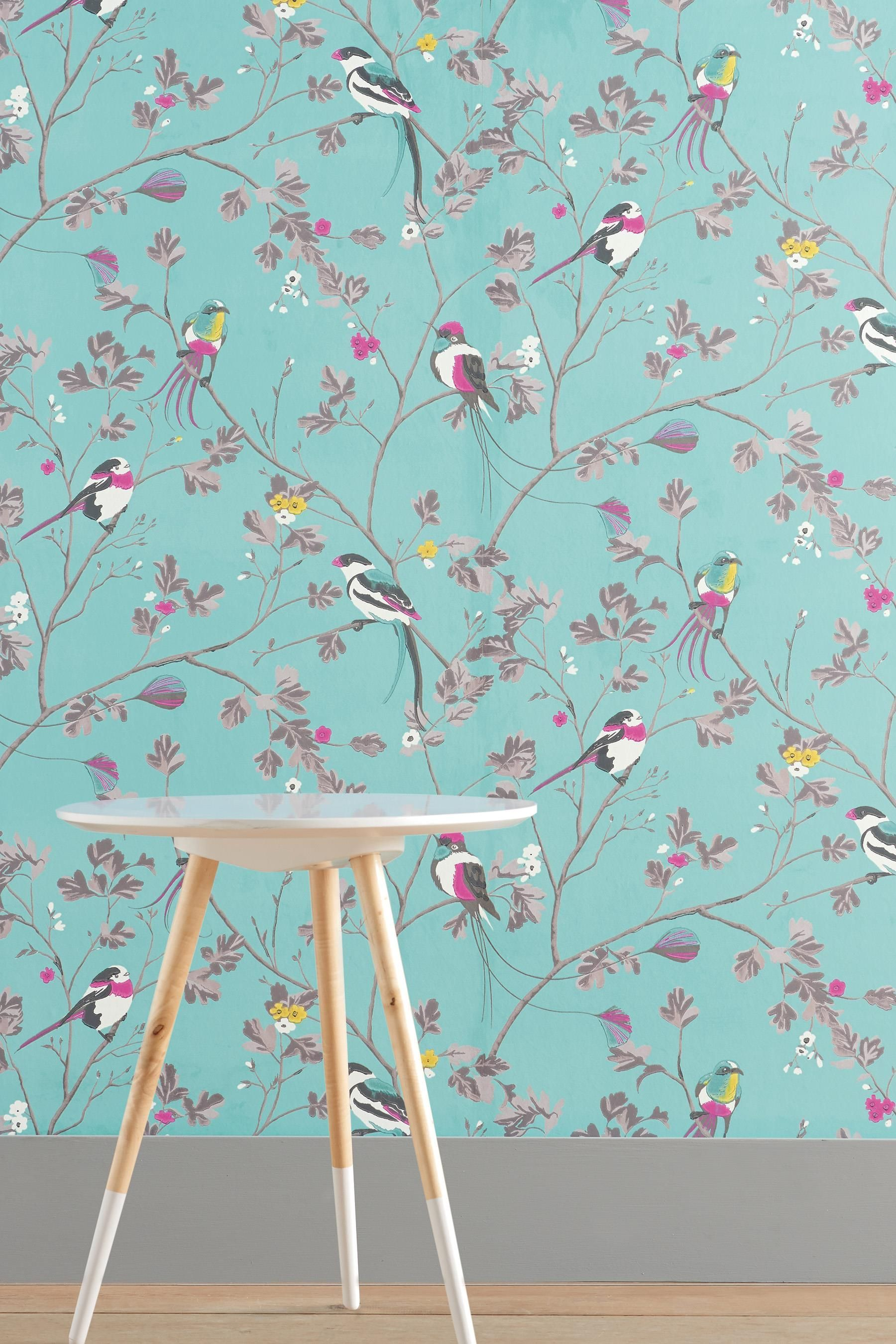 Buy Bird Menagerie Teal Wallpaper From The Next  Hallway
