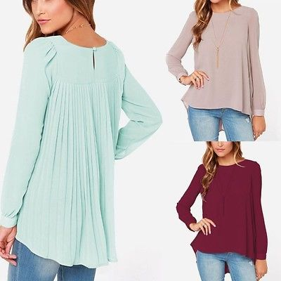 Korean-Lady-Long-Sleeve-Chiffon-Blouse-Irregular-Hem-Candy-Back-Line-T-Shirt-E79