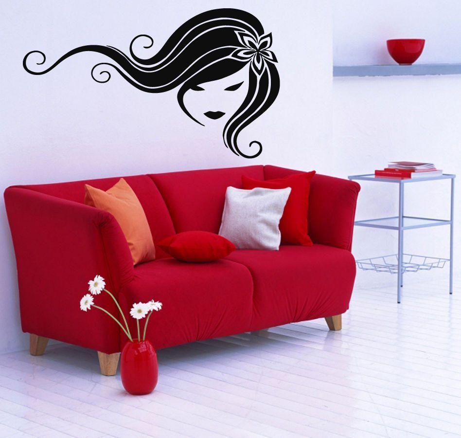 Wall Decals Vinyl Decal Sticker Murals Beauty Salon Decor Girl Floral Hair Kj109