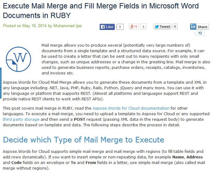 Mail Merge Using AspsoeWords For Cloud Api Allows Developers To