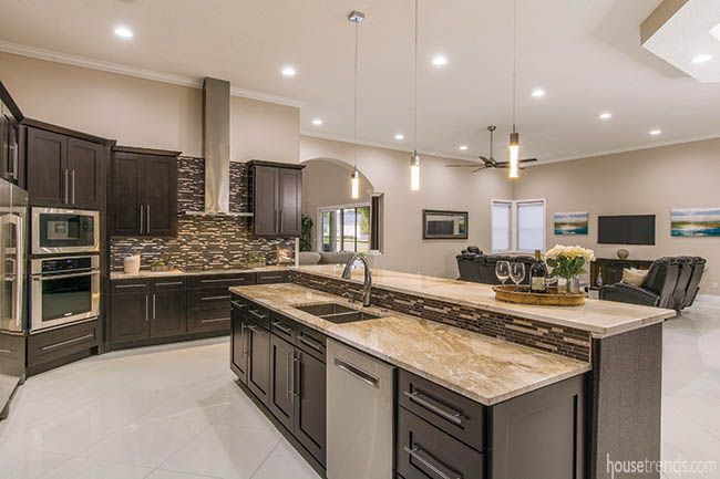 East Meets West In Unique Home Design Kitchen Island With Sink Shaker Style Kitchen Cabinets Kitchen Cabinet Styles